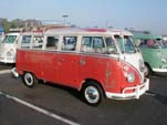 Original paint Volkswagen 13-window deluxe bus with a roof rack