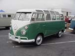 Restored Volkswagen 21-window deluxe samba bus painted velvet green on the lower half