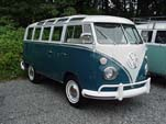 Beautifully restored VW 21 Window samba bus painted stock sea blue on the bottom half