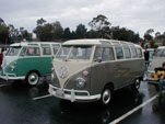 Vintage VW 21-window deluxe samba bus painted gray on the lower half