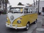 1967 VW 21-window samba bus painted yellow on the lower half