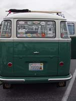 Curved rear windows on a vintage vw 23-window deluxe samba bus