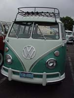 Roof rack on a restored vintage Volkswagen 23-window deluxe samba bus