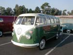 Vintage Volkswagen 23-Window samba deluxe bus painted velvet green on lower half