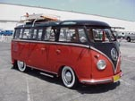 VW 23 Window deluxe samba bus has a roof rack and pressed bumpers