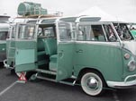 Vintage 1963 VW 23 Window deluxe samba bus with vintage logic on roof rack