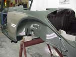 Photo shows the new paint on the 1954 VW convertible inner fender