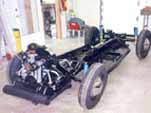 Fully restored 1954 Volkswagen convertible chassis is ready for the restored body to be mounted