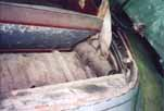 Original rusty luggage shelf on a 1954 Volkswagen Cabriolet