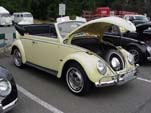 Restored VW convertible bug painted light yellow