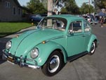 Beautifully restored Volkswagen bug, painted original L-380 Turquouse