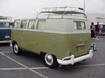 VW Camper in Seagull Gray over Mango Green