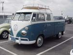 Very Sharp 1963 VW Double Cab Pickup With an Accessory Roof Rack and painted in a 2-tone blue paint job