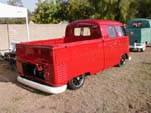 Small Taillight Volkswagen Crew Cab Pickup Truck is Lowered and Has a Bright Red Paint Job