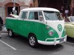 Bright Green VolkswagenW Double Cab Pickup Truck at Huntington Beach is an Awesome Surf Board Hauler