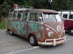 Great patina on a lowered Volkswagen 23 window deluxe samba bus