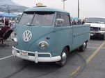 Original Volkswagen single cab pickup with faded dove blue paint