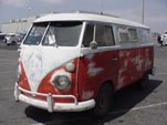 Volkswagen panel van converted into a camper with 2-tone paint
