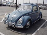 Stock vintage VW ragtop bug painted gulf blue L390