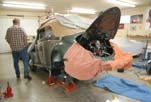 Installing the rebuilt engine in the 1954 Volkswagen convertible