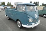 Sharp thin whitewall tires on a beautifully restored 1959 VW Single Cab Pickup