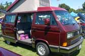 Volkswagen Vanagon original paint color sample of Bordeaux Red Metallic #LC3Y, sales code 9082