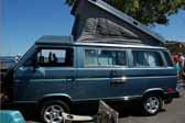 Volkswagen Vanagon original paint color sample of Capri Blue #LK5E, sales code J6