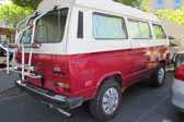 Volkswagen Vanagon original paint color sample of Damuso White #LH9D (sales code P6) over Marsala Red #LH3D (sales code H3)