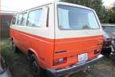 Volkswagen Vanagon original paint color sample of Ivory #L567 (sales code B9) over Bright Orange #L20B, sales code E1
