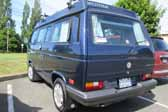 Volkswagen Vanagon original paint color sample of Marine Blue Metallic #LA5B, sales code J2