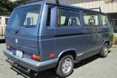 Volkswagen Vanagon original paint color sample of Orly Blue Metallic #LP5Z, sales code 9048