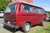Volkswagen Vanagon original paint color sample of Titian Red Metallic #LB3V, sales code W4