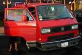 Volkswagen Vanagon original paint color sample of Tornado Red #LY3D, sales code G2
