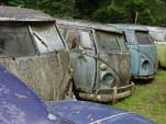 Volkswagen Type-II Buses Sitting at VW Auto Wrecking Yard In The NorthWest